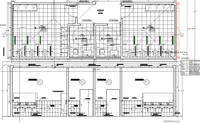 Public wash room plan and elevation detail dwg file