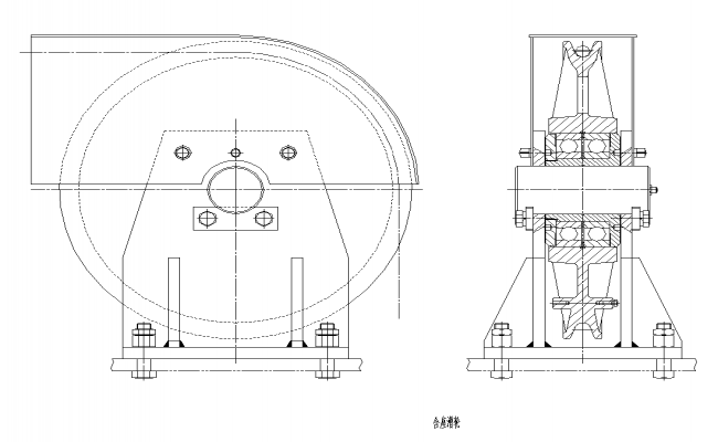 Pulley CAD machinery 2d view layout autocad file
