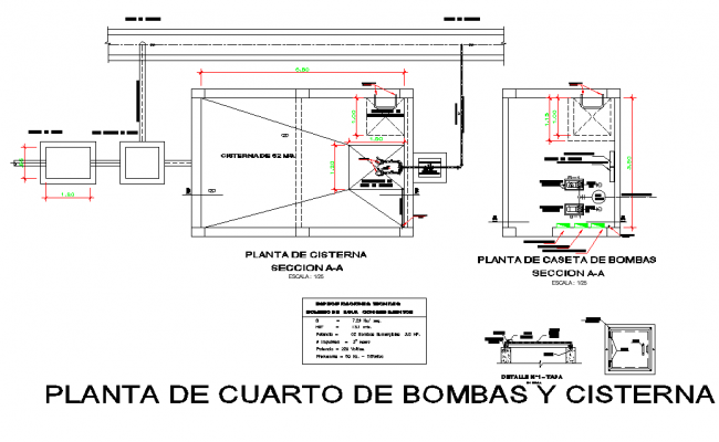 Pump and cistern plant detail dwg file