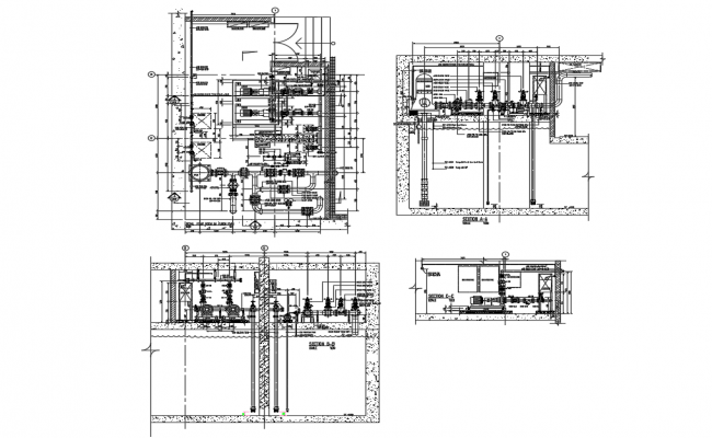 Pump house section and plumbing cad drawing details dwg file