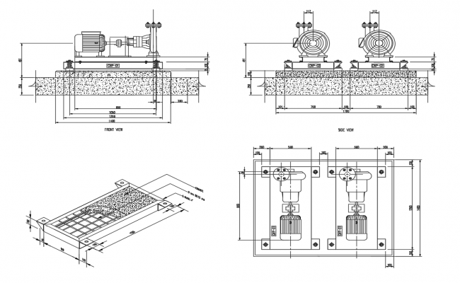 Pump house with motor pump cad drawing details dwg file