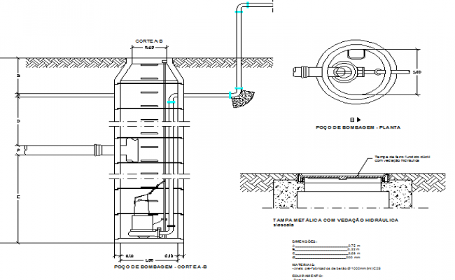 Pumping well architecture details dwg file