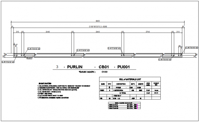 Purling detail view of structural design with grid location dwg file