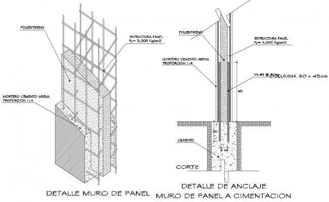 RCC Column Footing CAD Drawing
