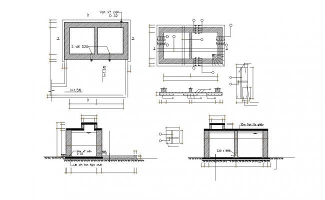 RCC Water Tank Detailing CAD File Free Download
