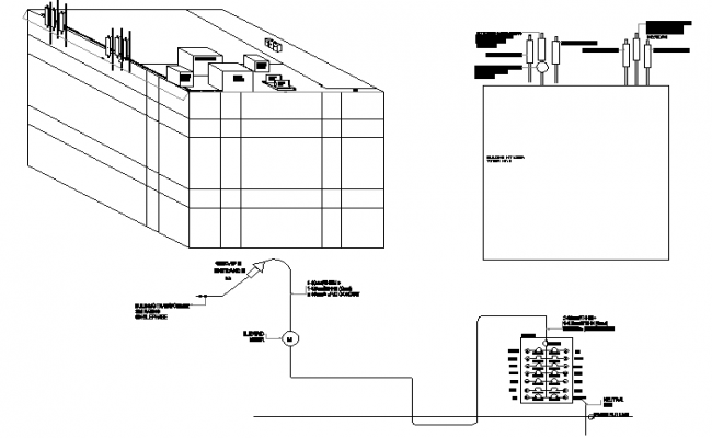 Radio tower building and single line diagram details dwg file