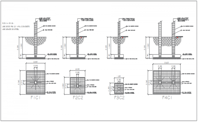 Raft foundation plan detail dwg file