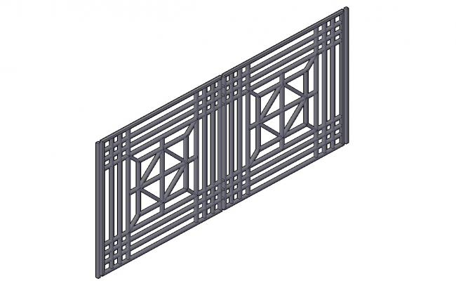 Railing 3d model With Basic Rendered  Drawing CAD File Free