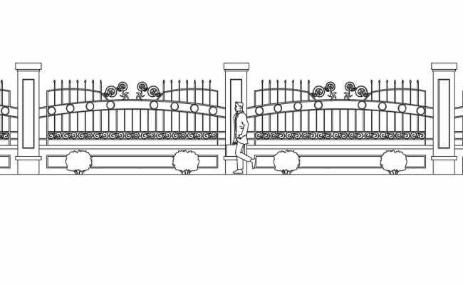 Railing and fence detail view with cad block view dwg file