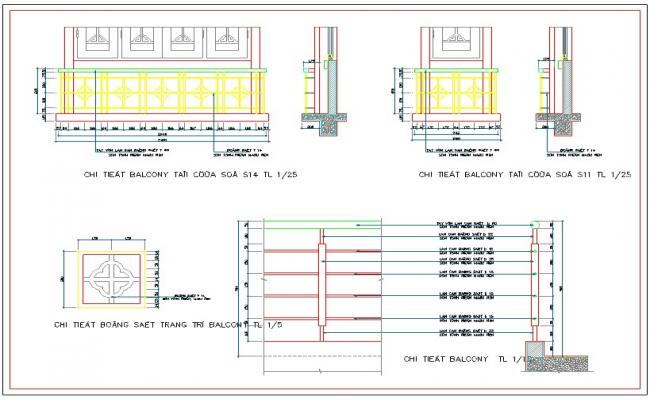 Railing design and detail cad drawing