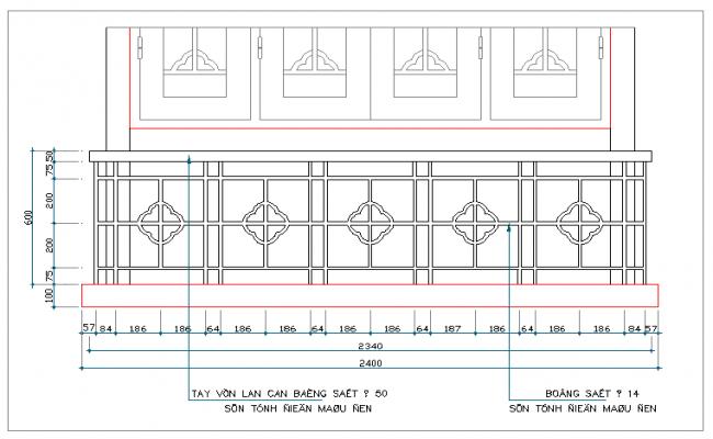 Railing design dwg file