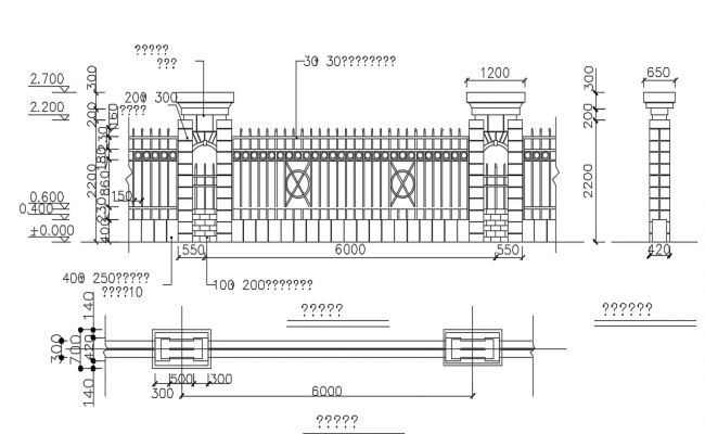 Railing wall plan and elevation view dwg file