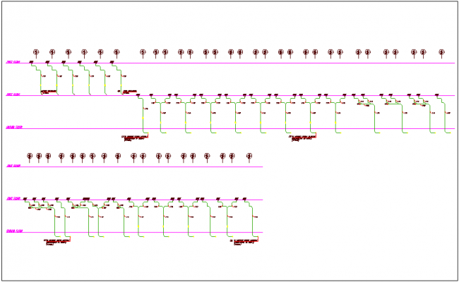 Rain water riser line diagram view dwg file