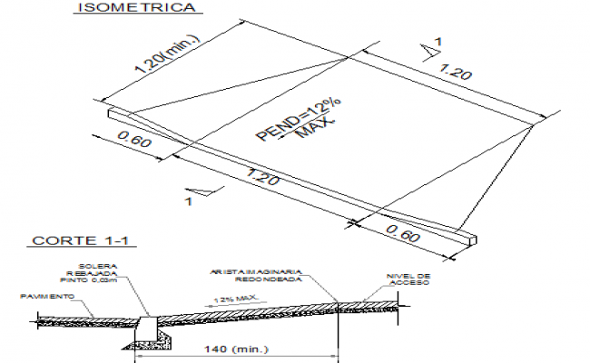 Ramp construction details isometric view dwg file