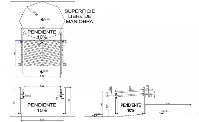 Elevation Plan Description : Ramp plan and elevation autocad file