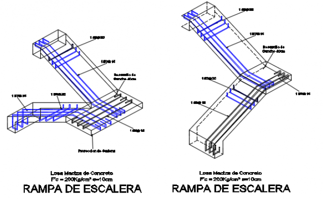 Ramp stair section detail dwg file