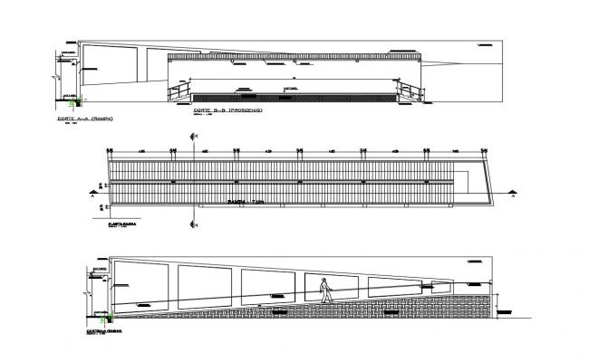 Ramp walk constructive structure details dwg file