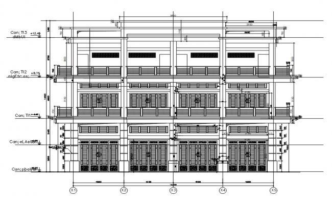 Row House Elevation AutoCAD file