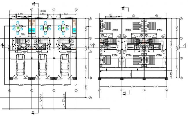 Row House Layout Plan CAD File