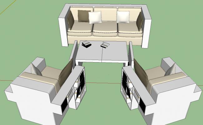 Reading sofa 3d view skp file