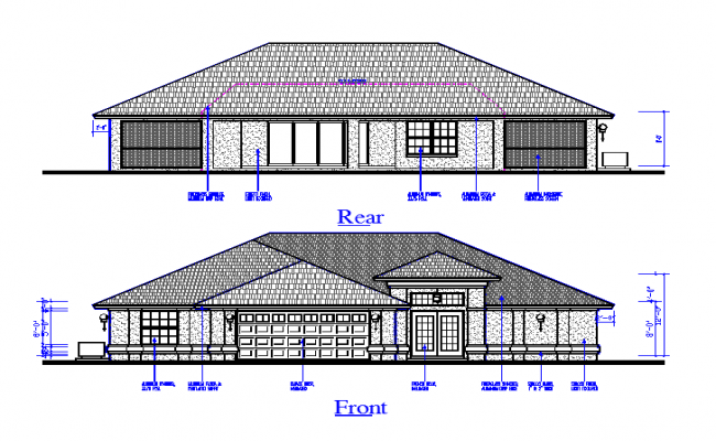 Rear & Front Side House Elevation Design