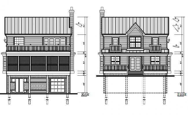 Rear & Front side house elevation detail
