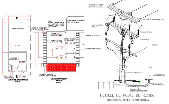 Receipt post detail dwg file