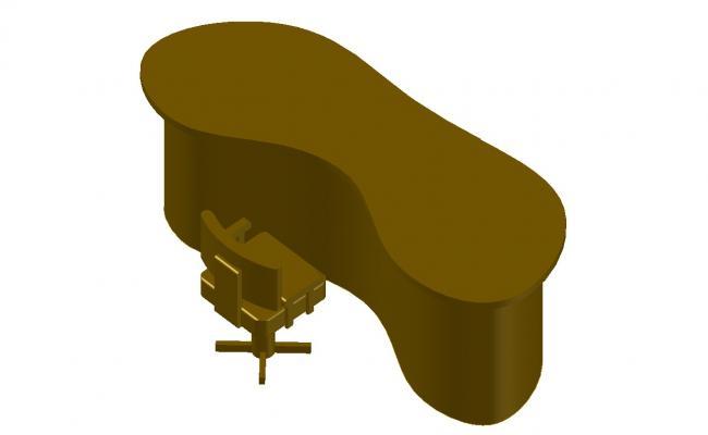 Reception Desk CAD Block AutoCAD Furniture 3d model