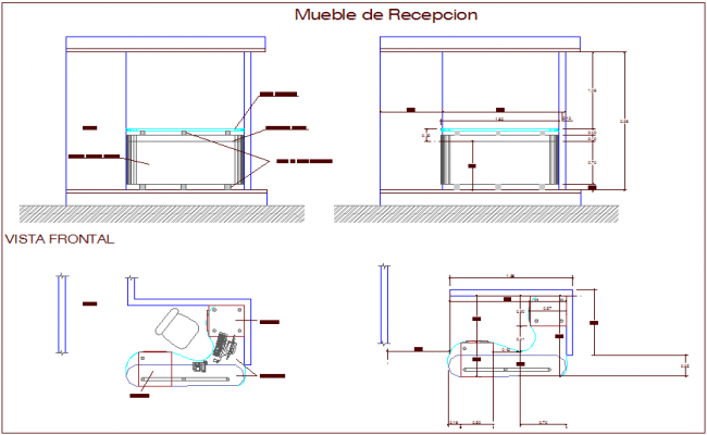 Reception area furniture view for administration building dwg file