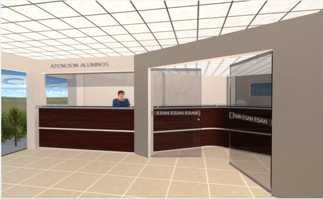 Reception area interior details of corporate office dwg file