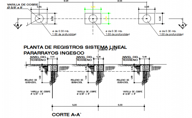 Records plant lineal constructive details dwg file