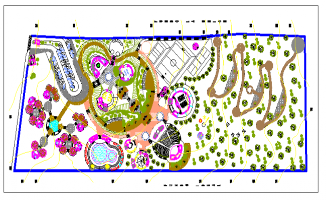 Recreational center theme park landscaping details dwg file