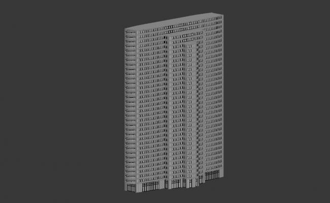 Rectangular Shape Commerce Building Design Max file