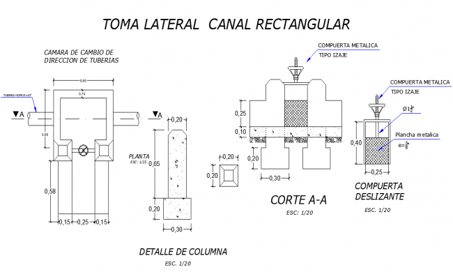Rectangular channel side take dwg file