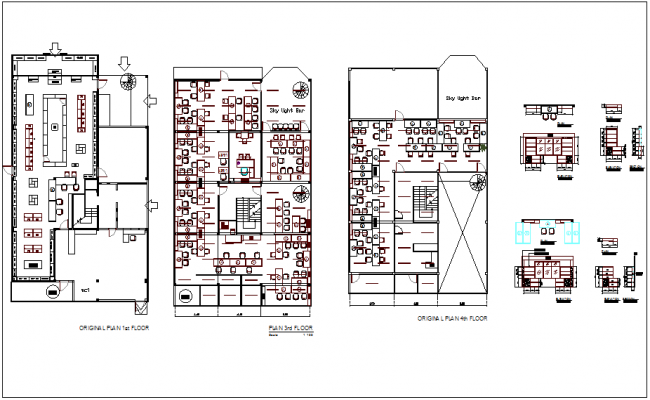 Red building plan and elevation view dwg file