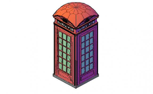 Red telephone box 3d elevation