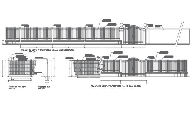 Reeling and gate elevation detail dwg file