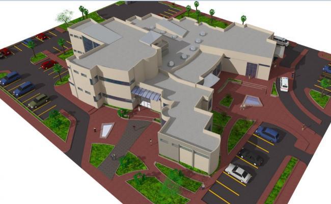 Regional hospital building top view drawing jpg file