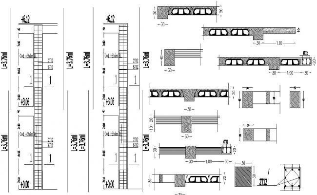Reinforced Column Design 2d AutoCAD Drawing