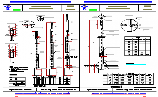 Reinforced concrete high voltage transmission poles design drawing