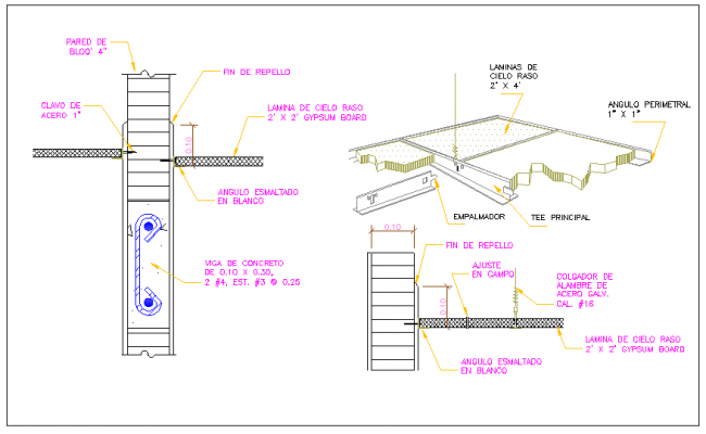 Reinforcement Beam and column structure detail dwg file