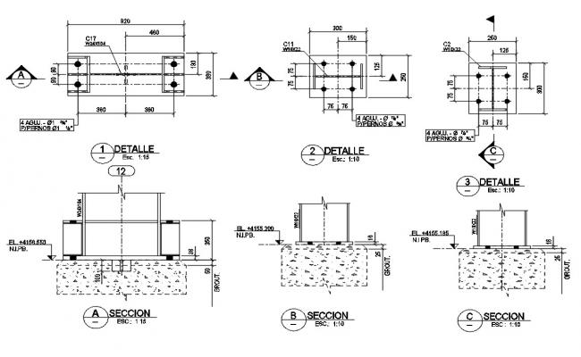 Reinforcement Column And Footing CAD Drawing