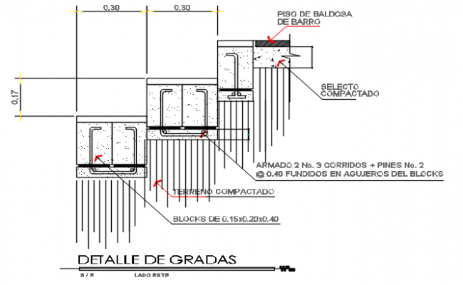 Reinforcement Stair elevation detail dwg file