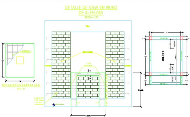 Reinforcement Wall elevation and section working plan detail dwg file