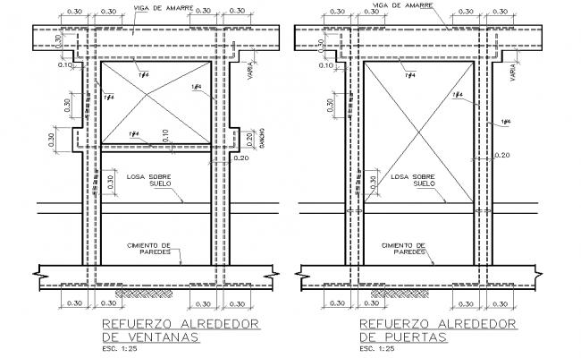 Reinforcement around window section plan autocad file