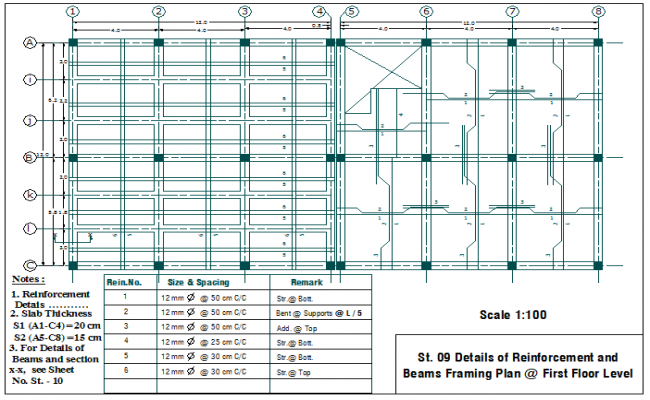 Reinforcement arrangement plan layout of slab detail dwg file
