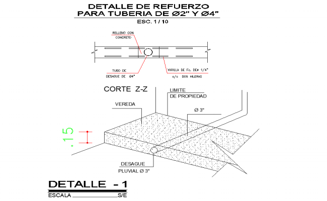 Reinforcement detail for pipeline autocad file