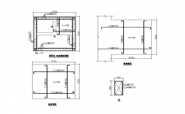 Reinforcement detail in structure 2d view layout file
