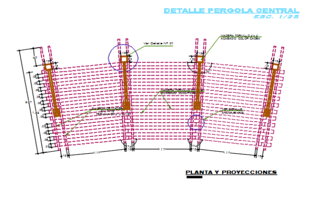 Reinforcement in gate elevation detail dwg file
