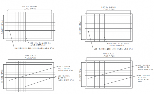Reinforcement long span and short span detail dwg file